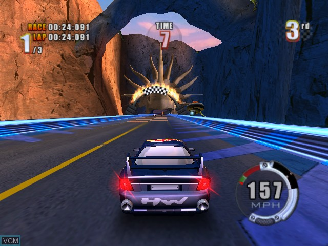 In-game screen of the game Hot Wheels - Stunt Track Challenge on Microsoft Xbox