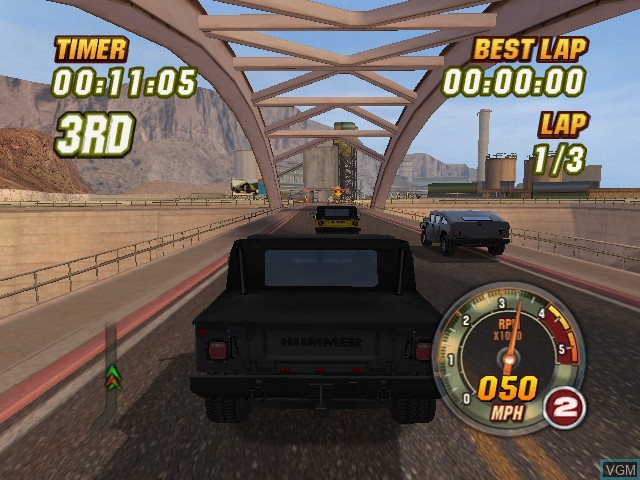 In-game screen of the game Hummer Badlands on Microsoft Xbox