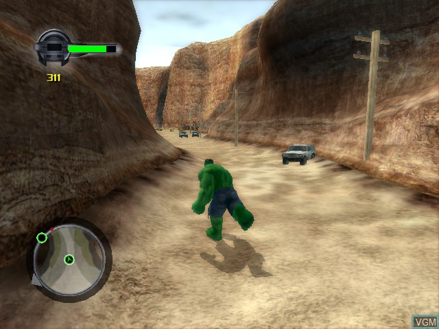 In-game screen of the game Incredible Hulk, The - Ultimate Destruction on Microsoft Xbox