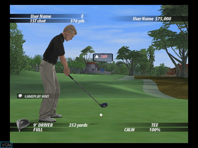 In-game screen of the game Tiger Woods PGA Tour 2005 on Microsoft Xbox