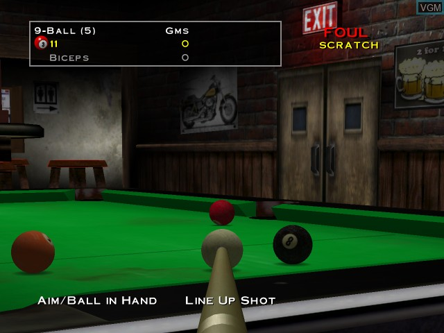 In-game screen of the game Virtual Pool - Tournament Edition on Microsoft Xbox