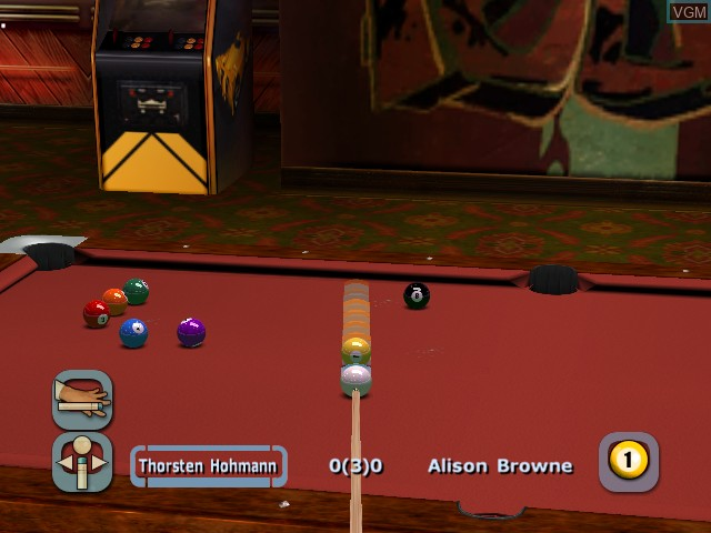In-game screen of the game World Championship Pool 2004 on Microsoft Xbox