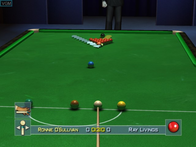 In-game screen of the game World Championship Snooker 2004 on Microsoft Xbox