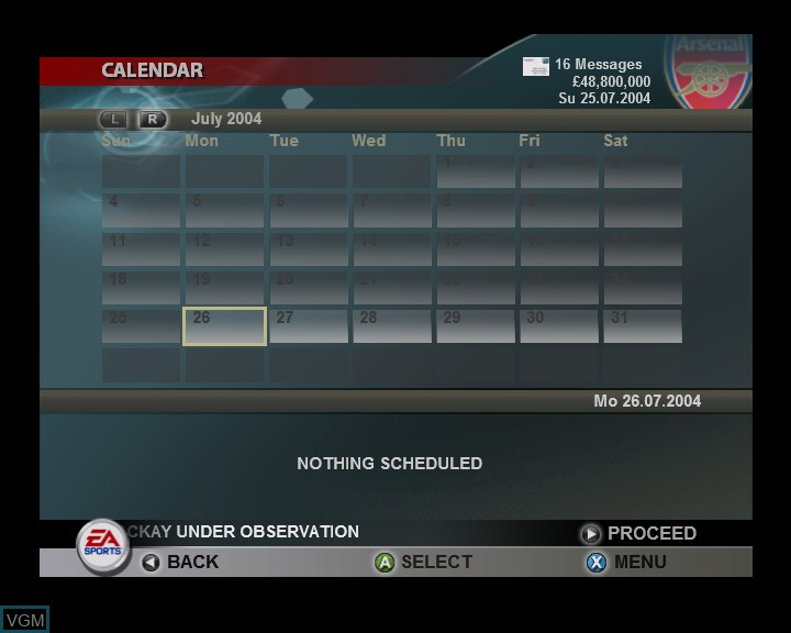 In-game screen of the game Total Club Manager 2005 on Microsoft Xbox