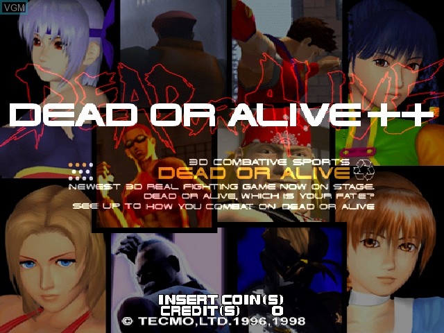 Title screen of the game Dead or Alive++ on Zinc