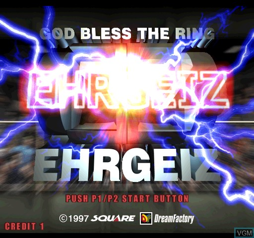 Title screen of the game Ehrgeiz on Zinc