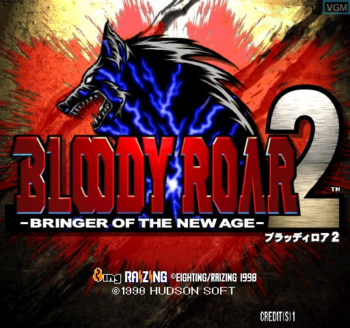 Title screen of the game Bloody Roar 2 on Zinc