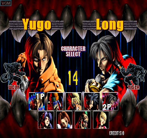 Menu screen of the game Bloody Roar 2 on Zinc
