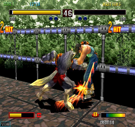 In-game screen of the game Bloody Roar 2 on Zinc