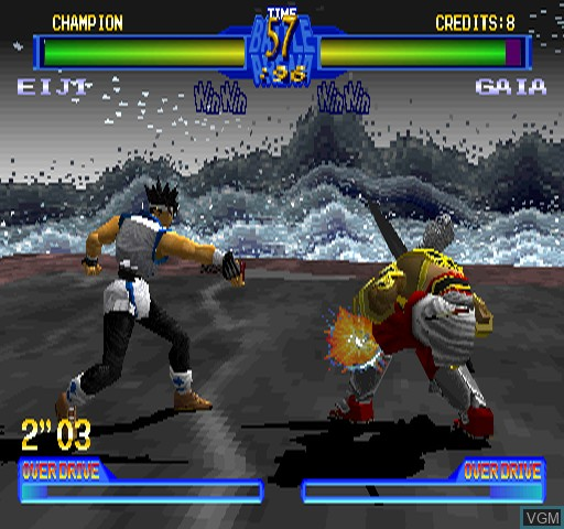 In-game screen of the game Battle Arena Toshinden 2 on Zinc