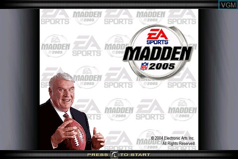 Title screen of the game Madden NFL 2005 on Tapwave Zodiac