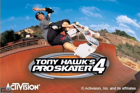 Title screen of the game Tony Hawk's Pro Skater 4 on Tapwave Zodiac