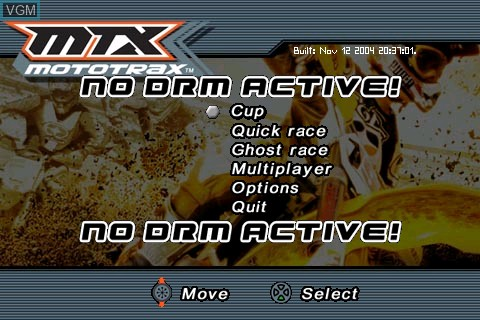 Title screen of the game MTX - Mototrax on Tapwave Zodiac