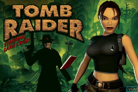 Title screen of the game Tomb Raider on Tapwave Zodiac
