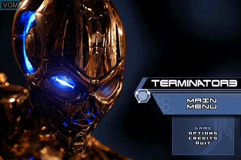 Title screen of the game Terminator 3 on Tapwave Zodiac