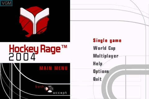 Title screen of the game Hockey Rage 2004 on Tapwave Zodiac