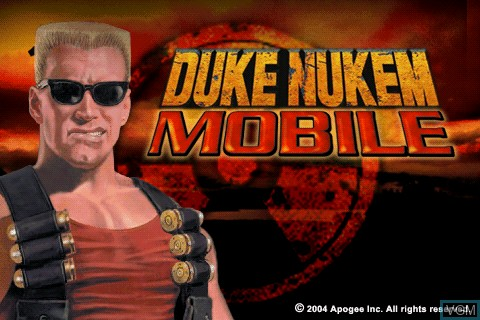 Title screen of the game Duke Nukem Mobile on Tapwave Zodiac