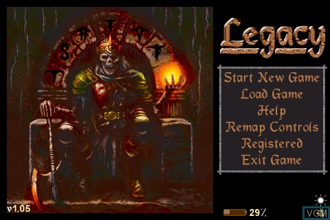 Title screen of the game Legacy on Tapwave Zodiac