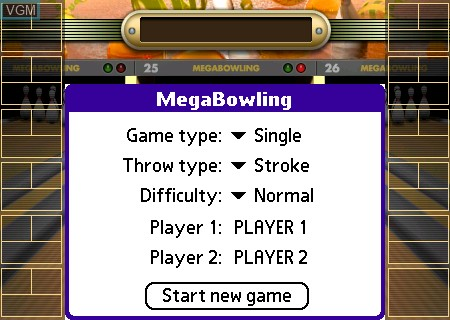 Title screen of the game Mega Bowling on Tapwave Zodiac