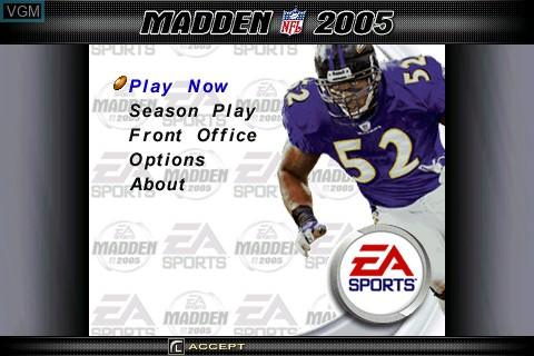 Menu screen of the game Madden NFL 2005 on Tapwave Zodiac