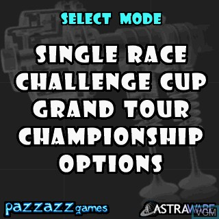 Menu screen of the game GTS Racing Challenge on Tapwave Zodiac