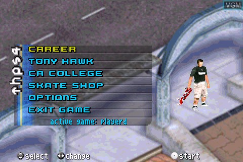 Menu screen of the game Tony Hawk's Pro Skater 4 on Tapwave Zodiac