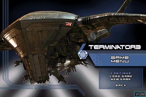 Menu screen of the game Terminator 3 on Tapwave Zodiac
