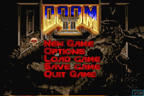 Menu screen of the game Doom II on Tapwave Zodiac