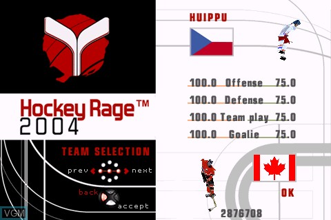Menu screen of the game Hockey Rage 2004 on Tapwave Zodiac