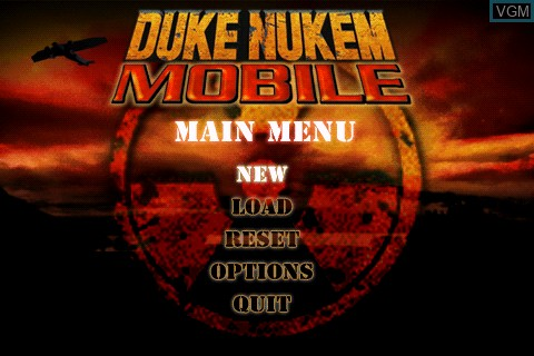 Menu screen of the game Duke Nukem Mobile on Tapwave Zodiac