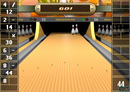 In-game screen of the game Mega Bowling on Tapwave Zodiac
