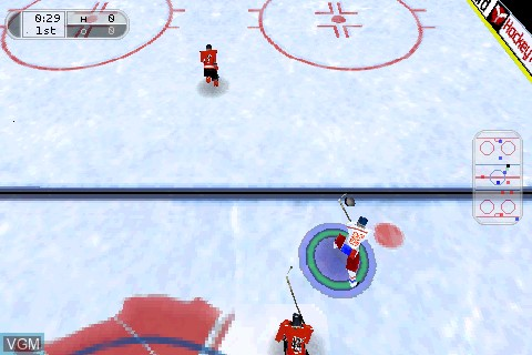 In-game screen of the game Hockey Rage 2004 on Tapwave Zodiac