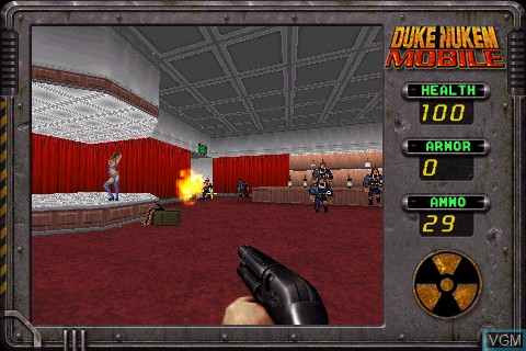 In-game screen of the game Duke Nukem Mobile on Tapwave Zodiac